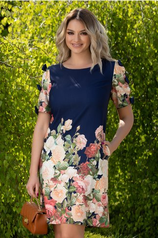 Rochie Sasha bleumarin cu imprimeu floral si fundite la maneci
