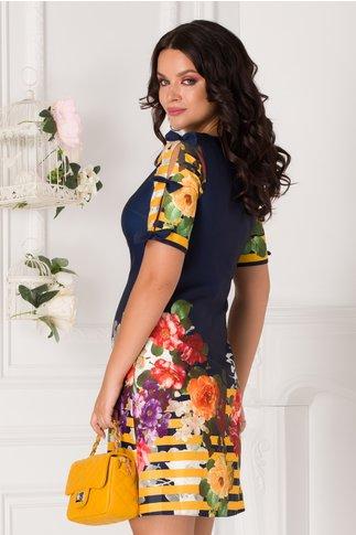 Rochie Sasha bleumarin cu trandafiri si dungi galbene