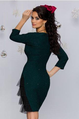 Rochie Sasha verde cu mini paiete si design cu tull la baza