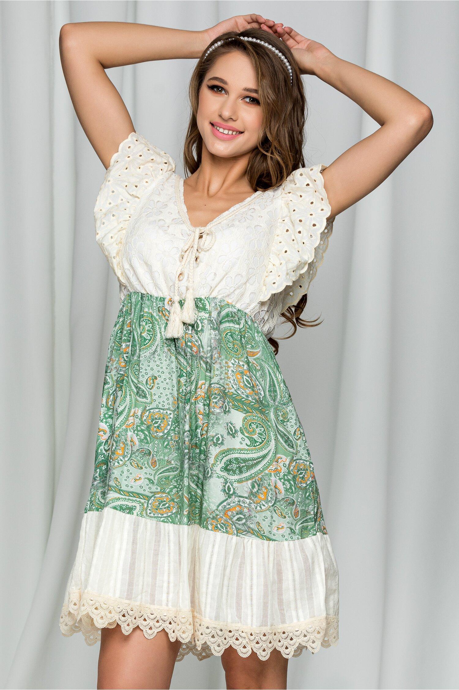 Rochie scurta de vara Samira bej cu imprimeu verde