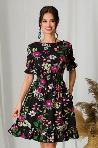 Rochie scurta neagra cu imprimeuri florale