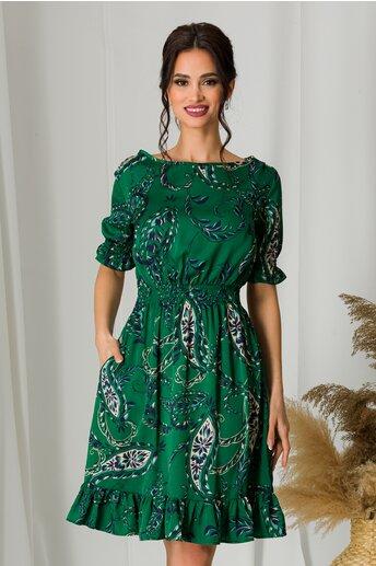 Rochie scurta satinata verde cu imprimeu floral