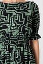 Rochie scurta verde cu imprimeu negru