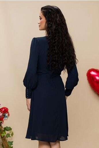 Rochie Selena bleumarin cu pliuri si strasuri in talie