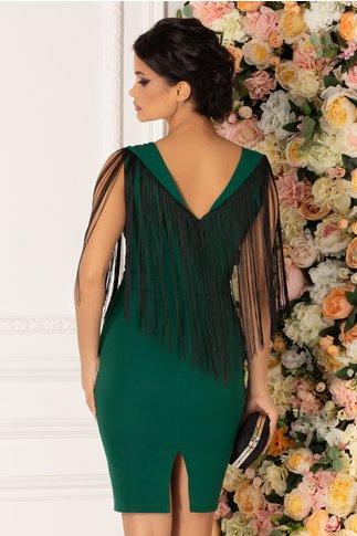 Rochie Selena verde cu franjuri