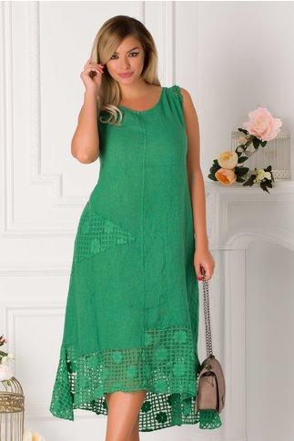 Rochie Selena verde de vara cu insertii din dantela si tull