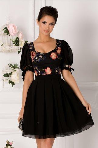 Rochie Selin neagra cu broderie florala la bust
