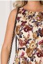 Rochie Selina clos bej cu imprimeu floral