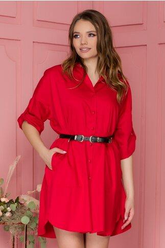 Rochie Selma rosie tip camasa cu curea in talie