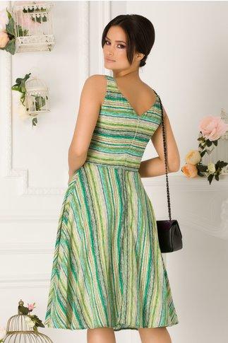 Rochie Sely casual cu imprimeu in nuante de verde
