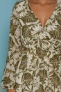 Rochie Serena ivoire cu motive florale kaki si curea tip lant in talie