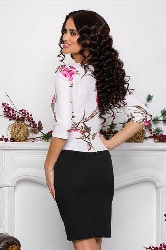 Rochie Sheyla alb-negru cu imprimeuri roz si peplum in talie