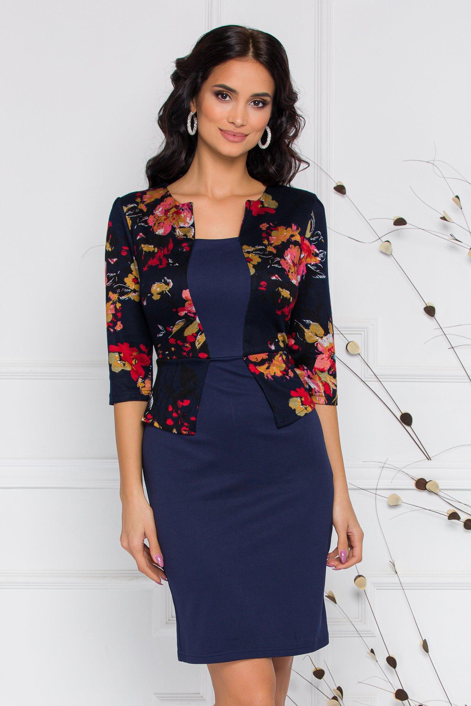 Rochie Sheyla bleumarin cu imprimeu floral bordo-maro si peplum in talie