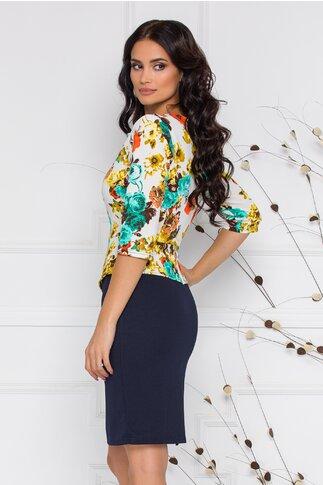 Rochie Sheyla bleumarin cu imprimeu floral turcoaz si peplum in talie