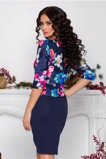 Rochie Sheyla bleumarin cu imprimeuri florale multicolore