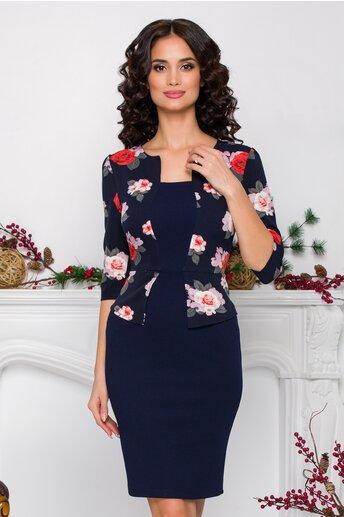Rochie Sheyla bleumarin cu trandafiri la bust si peplum in talie