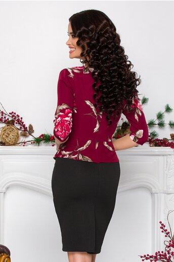 Rochie Sheyla bordo-negru cu imprimeuri florale si peplum in talie