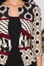 Rochie Sheyla neagra cu imprimeuri bej si bordo la bust si peplum in talie