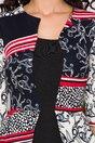 Rochie Sheyla neagra cu imprimeuri rosu la bust si peplum in talie