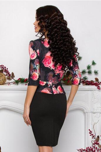 Rochie Sheyla neagra cu trandafiri corai la bust si peplum in talie