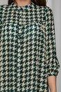 Rochie Sheyla verde cu imprimeu picior de cocos