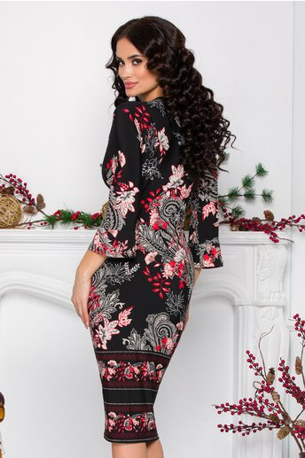 Rochie Sielle neagra cu imprimeu floral rosu