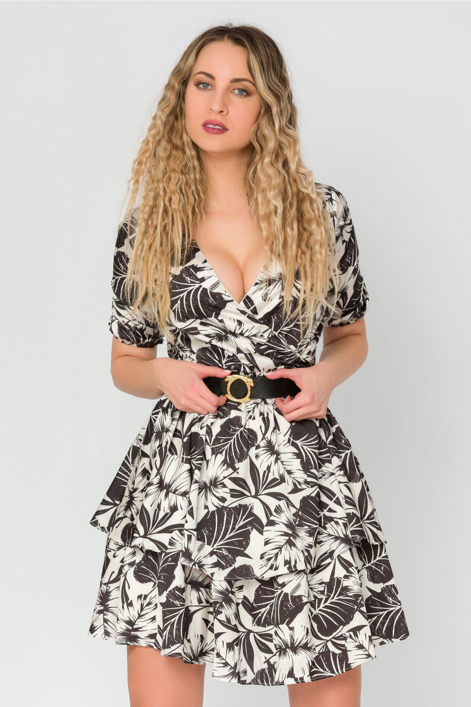 Rochie Sienna alba cu imprimeu negru
