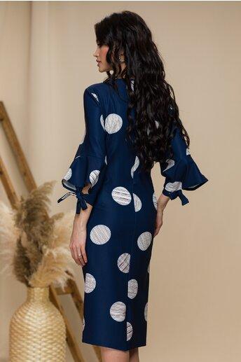 Rochie Sienna bleumarin cu buline maxi