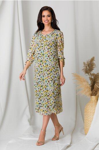 Rochie Sienna maro cu imprimeuri florale bej