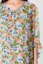 Rochie Sienna roz cu imprimeuri florale bleu
