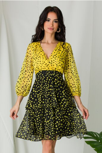 Rochie Sierra galben cu negru si buline