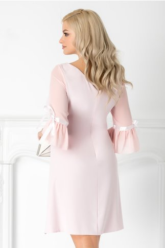 Rochie Silva roz pal eleganta cu maneci din voal si funda din satin