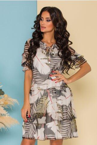Rochie Silvia alba cu imprimeu tropical negru