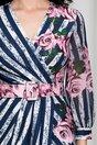 Rochie Sima cu dungi bleumarin si flori roz