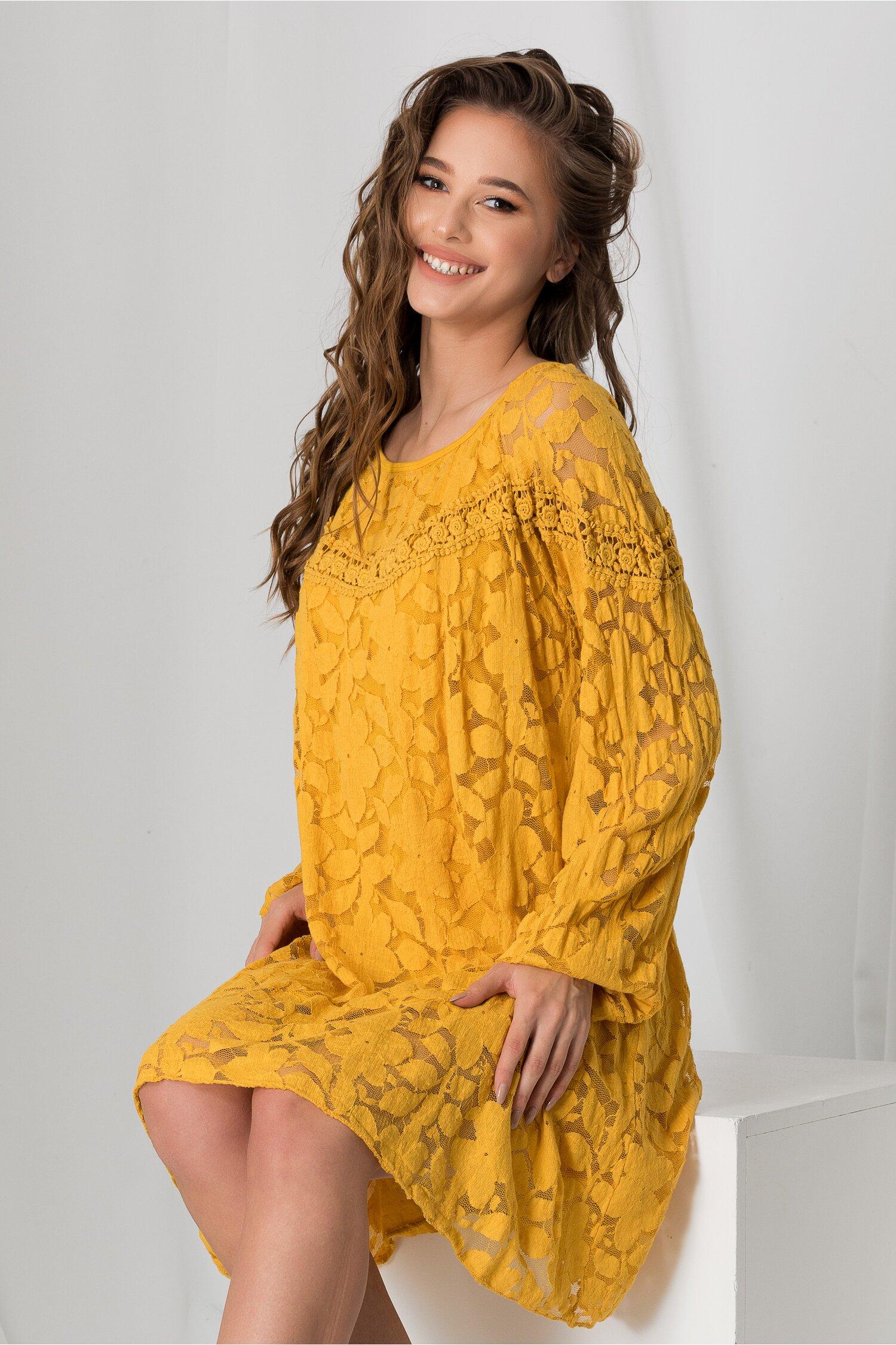 Rochie Sima galben mustar din dantela imagine dyfashion.ro 2021