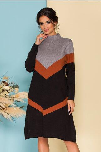 Rochie Sima negru cu gri casual din tricot