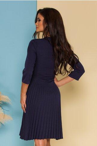 Rochie Simi bleumarin cu fusta plisata si guler tip esarfa