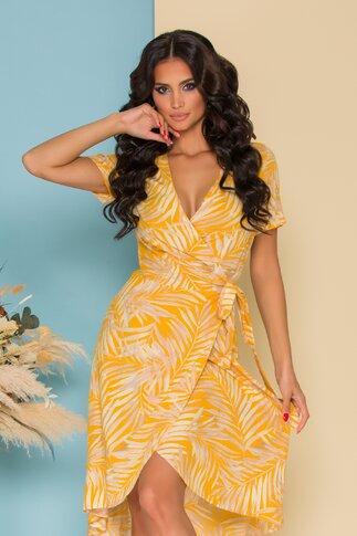 Rochie Simi petrecuta galben mustar cu imprimeu exotic