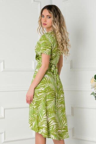Rochie Simi petrecuta ivory cu imprimeu exotic verde