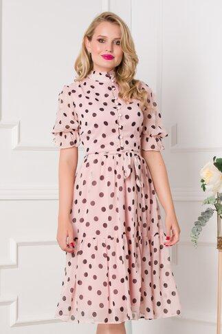 Rochie Simi roz pal cu buline negre