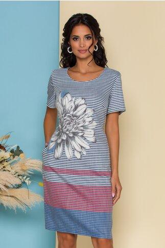 Rochie Simina cu dungi si imprimeu floral maxi