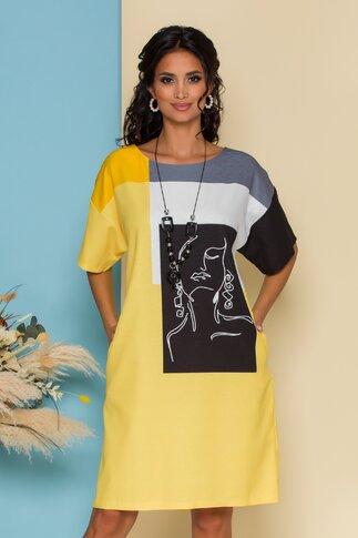 Rochie Simina galbena cu imprimeu abstract