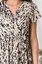 Rochie Simina ivory cu imprimeuri negre si volanas pe fusta