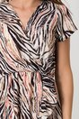 Rochie Simina ivory cu zebra print colorat si volanas pe fusta