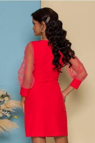 Rochie Simina rosie cu maneci din organza