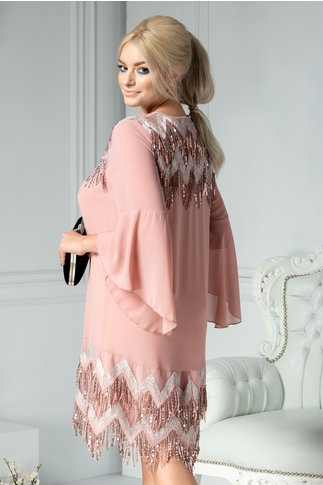 Rochie Simina roz cu franjuri din paiete