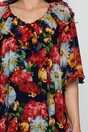Rochie Simona bleumarin accesorizata cu volanas si imprimeu floral