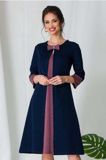 Rochie Simona bleumarin cu detalii roz prafuit