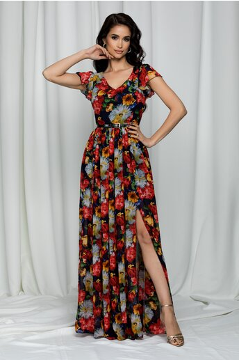 Rochie Simona bleumarin lunga cu maneci scurte tip volanase si imprimeu floral