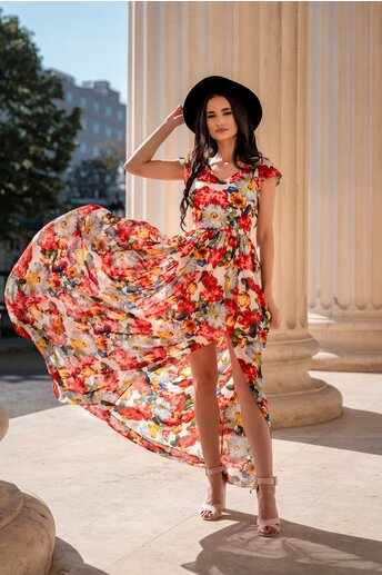 Rochie Simona lunga cu imprimeu floral maxi